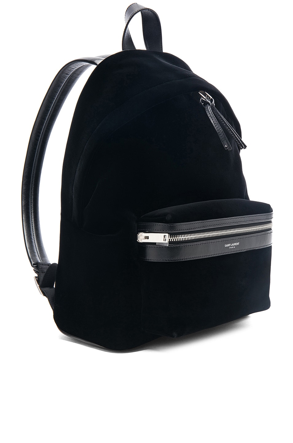 Image 4 of Saint Laurent Mini Velvet City Backpack in Black