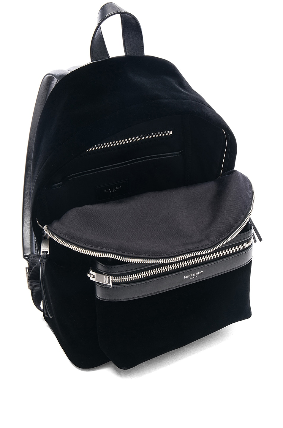 Image 5 of Saint Laurent Mini Velvet City Backpack in Black