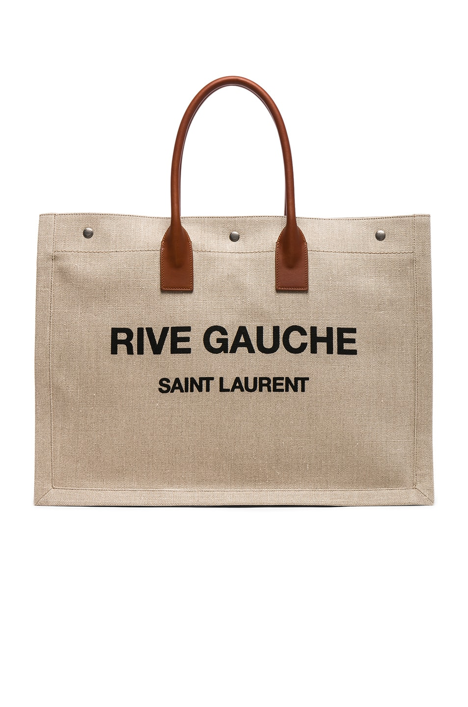 3d11a070d48 Image 1 of Saint Laurent Large Canvas & Leather Rive Gauche Noe Tote in  Natural &