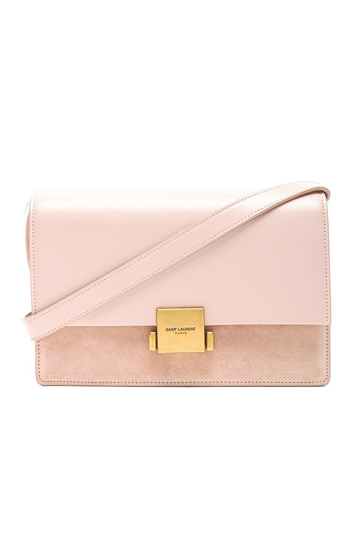 Image 1 of Saint Laurent Medium Leather & Suede Bellechasse Satchel in Marble Pink