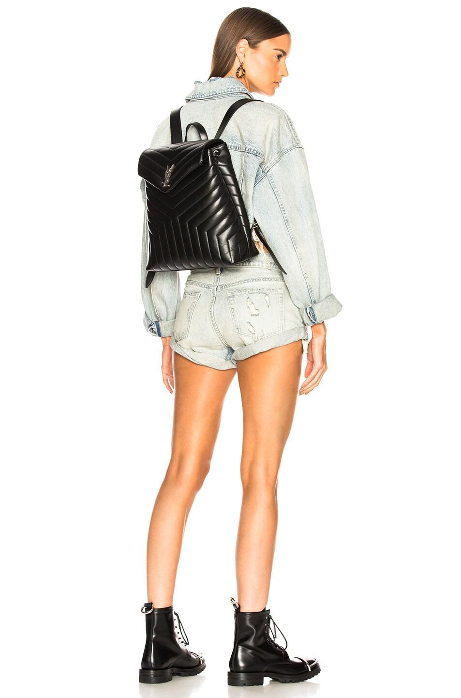 Image 2 of Saint Laurent Medium Supple Monogramme Loulou Backpack in Black