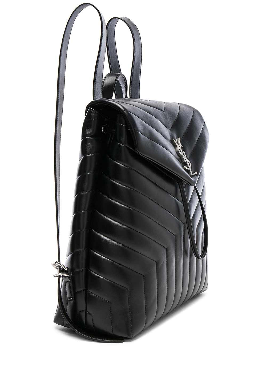 Image 4 of Saint Laurent Medium Supple Monogramme Loulou Backpack in Black