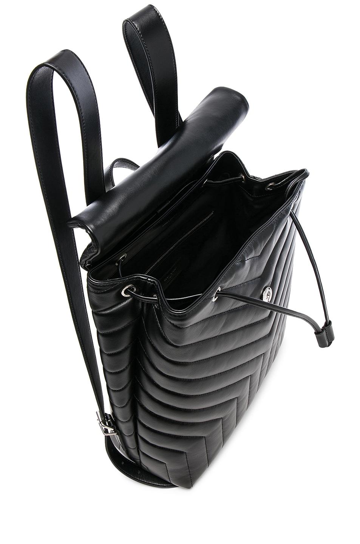 Image 5 of Saint Laurent Medium Supple Monogramme Loulou Backpack in Black