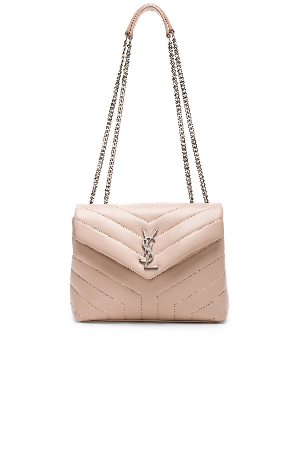 771af606f4 Image 1 of Saint Laurent Small Supple Monogramme Loulou Chain Bag in Marble  Pink