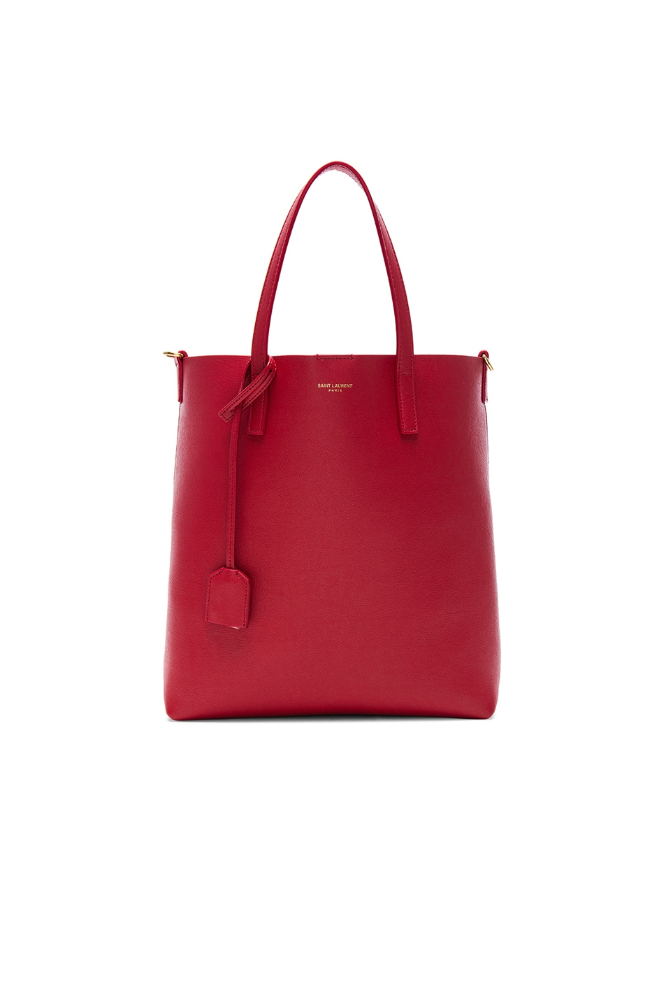 Toy Leather Tote Bag With Shoulder Strap in Red