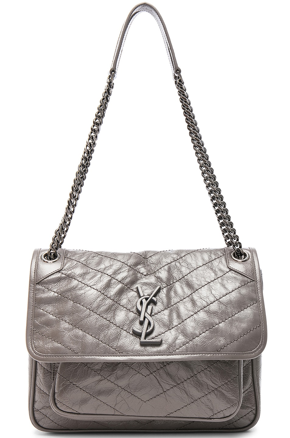 89c0c55fd3 Saint Laurent Medium Niki Monogramme Chain Bag In Gray