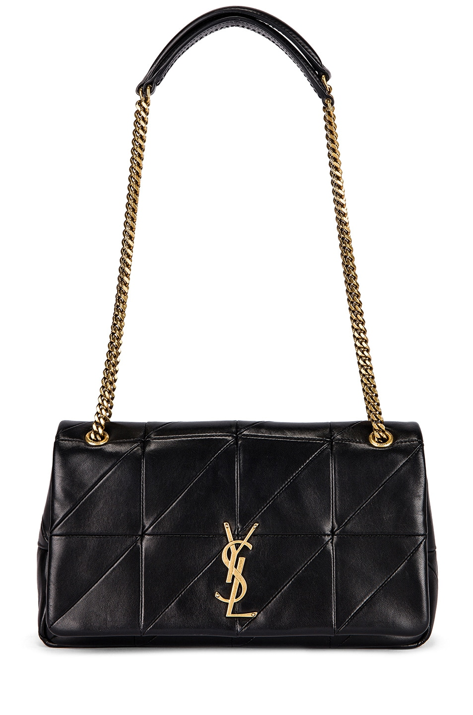 Jamie Monogram Ysl Small Diamond-Quilted Chain Shoulder Bag in Black