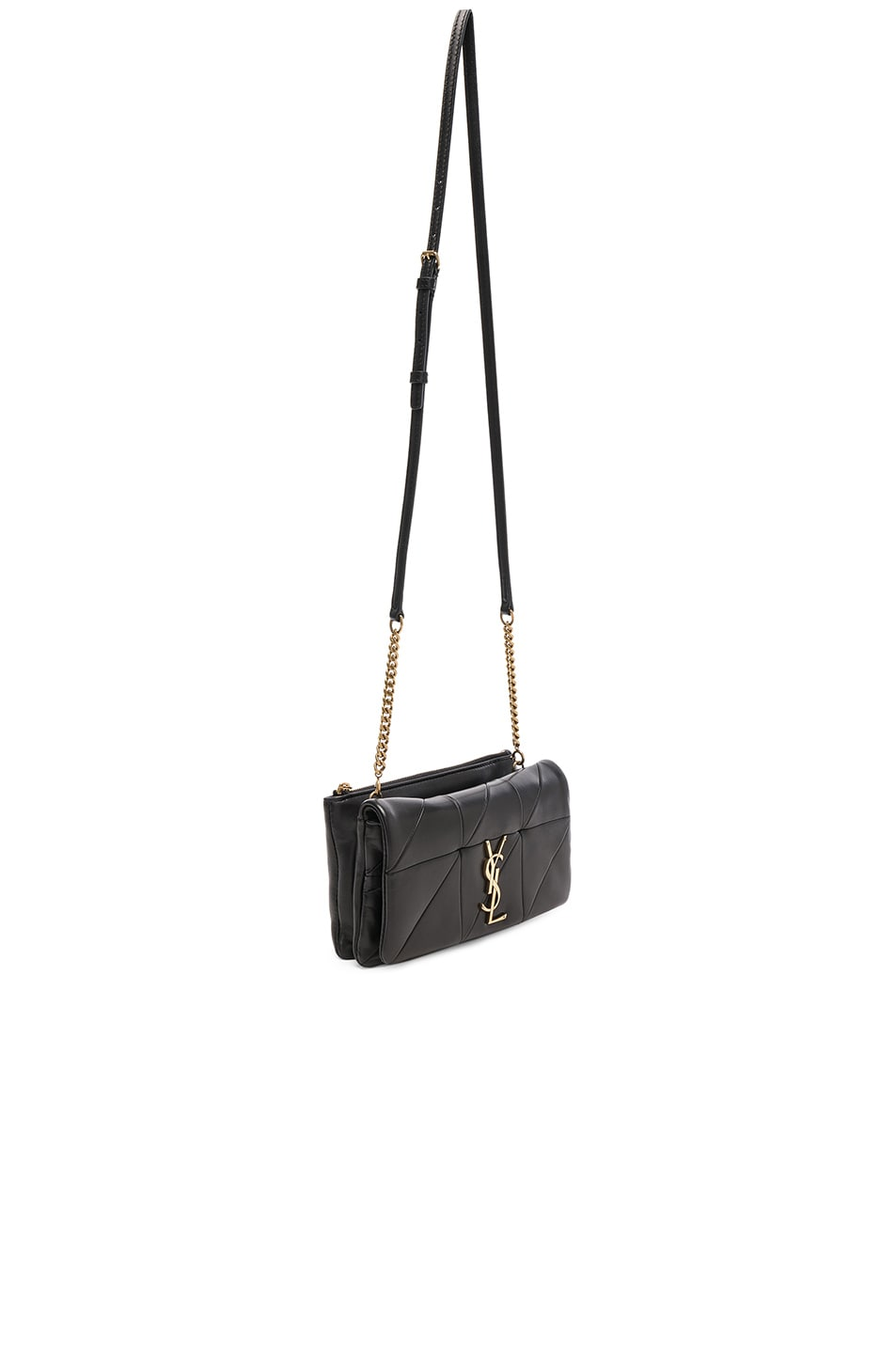 c813181ce99 Image 3 of Saint Laurent Patchwork Leather Monogramme Jamie Chain Wallet in  Black