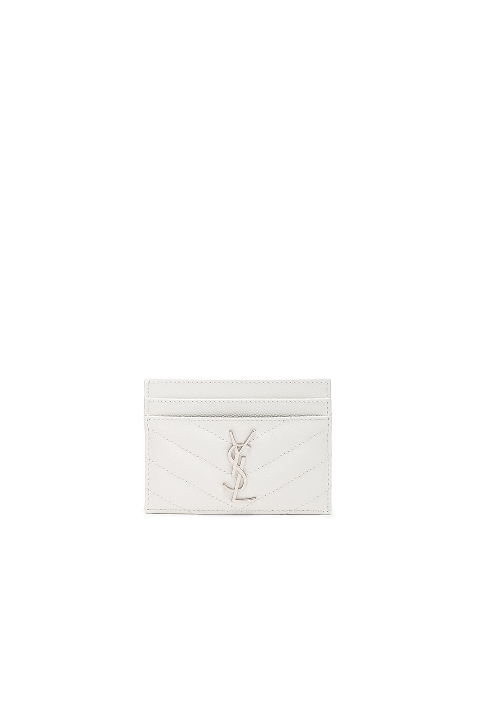 Image 1 of Saint Laurent Monogramme Credit Card Case in Optic White