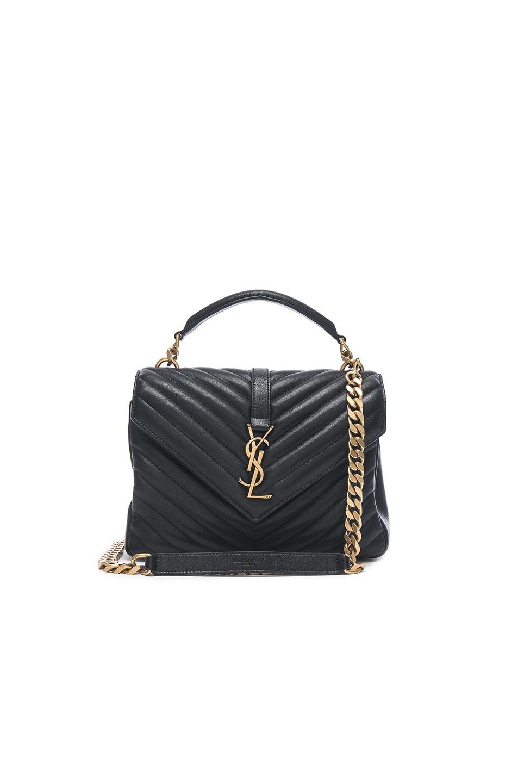 Saint Laurent Medium Monogramme College Bag In Black Gold Fwrd