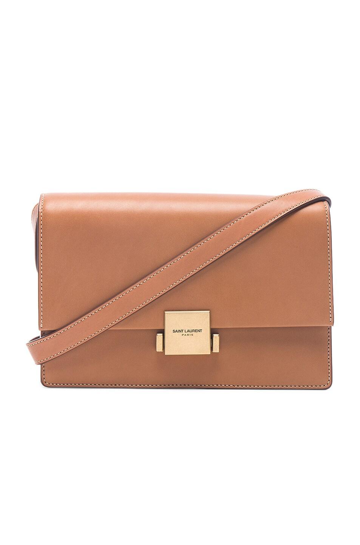 Image 1 of Saint Laurent Medium Leather Bellechasse Satchel in Brown Gold