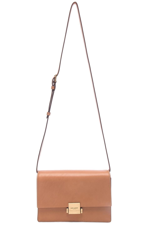 Image 6 of Saint Laurent Medium Leather Bellechasse Satchel in Brown Gold