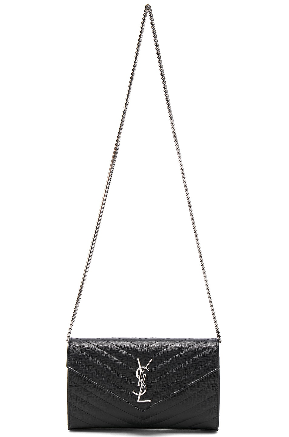 Image 6 of Saint Laurent Monogramme Chain Wallet in Black