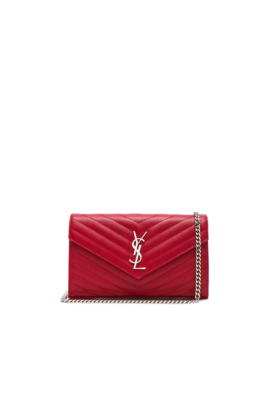 Image 1 of Saint Laurent Monogramme Chain Wallet in Eros Red