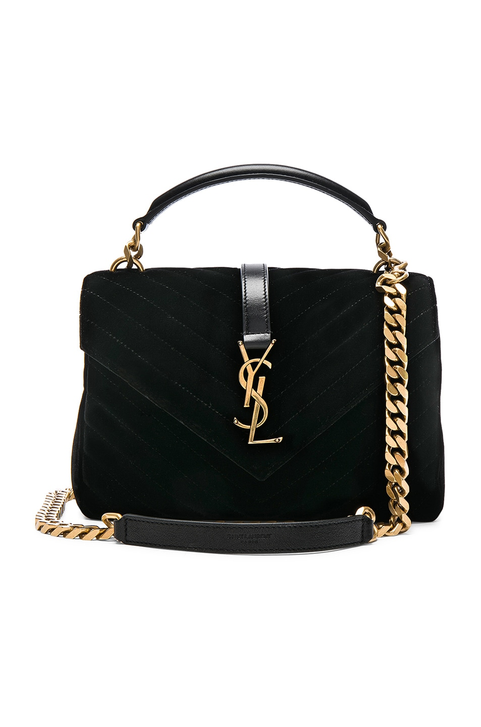 ee4c1a6c6fa7 Image 1 of Saint Laurent Medium Velvet Monogramme College Bag in Black