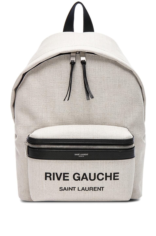 4f6148f38f Image 1 of Saint Laurent Mini Canvas Rive Gauche City Backpack in White &  Black