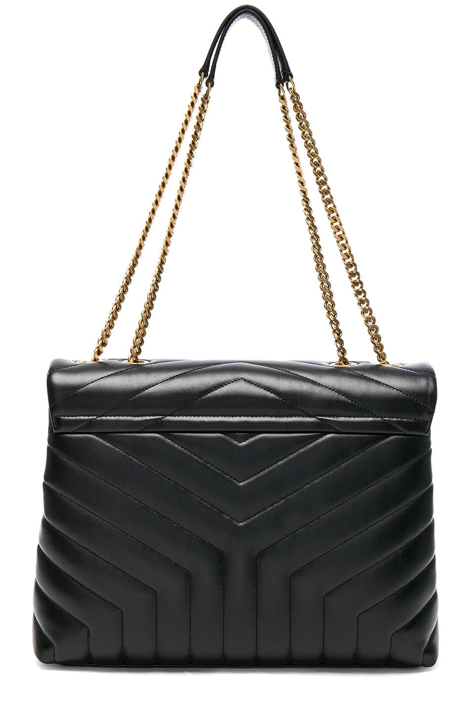 Image 3 of Saint Laurent Medium Supple Monogramme Loulou Chain Bag in Black & Gold