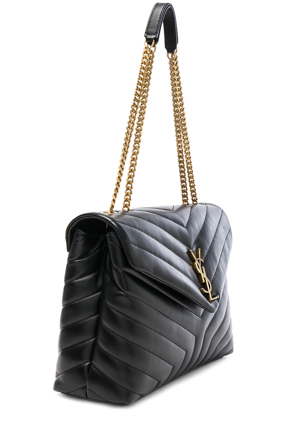 Image 4 of Saint Laurent Medium Supple Monogramme Loulou Chain Bag in Black & Gold