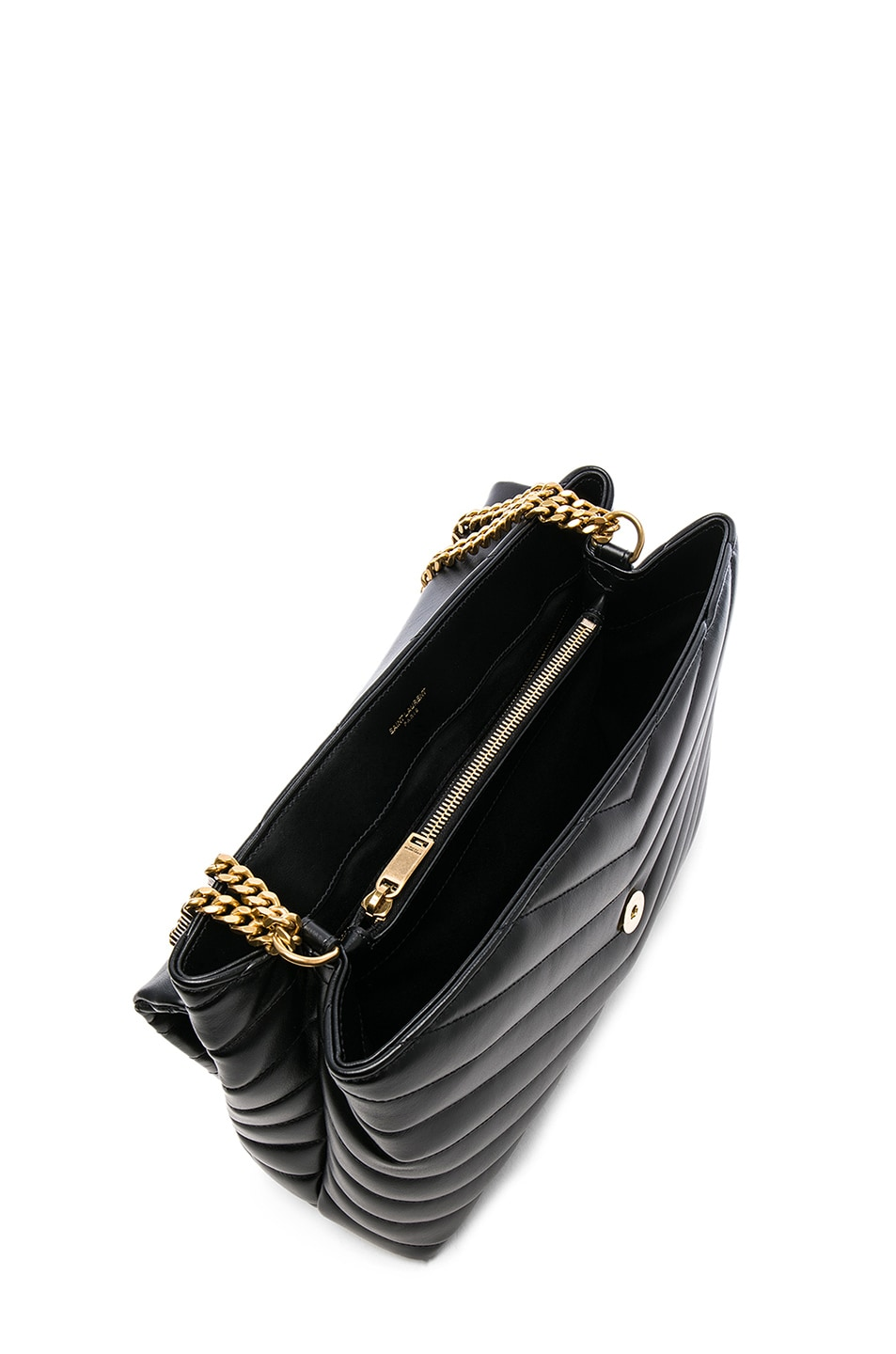 Image 5 of Saint Laurent Medium Supple Monogramme Loulou Chain Bag in Black & Gold