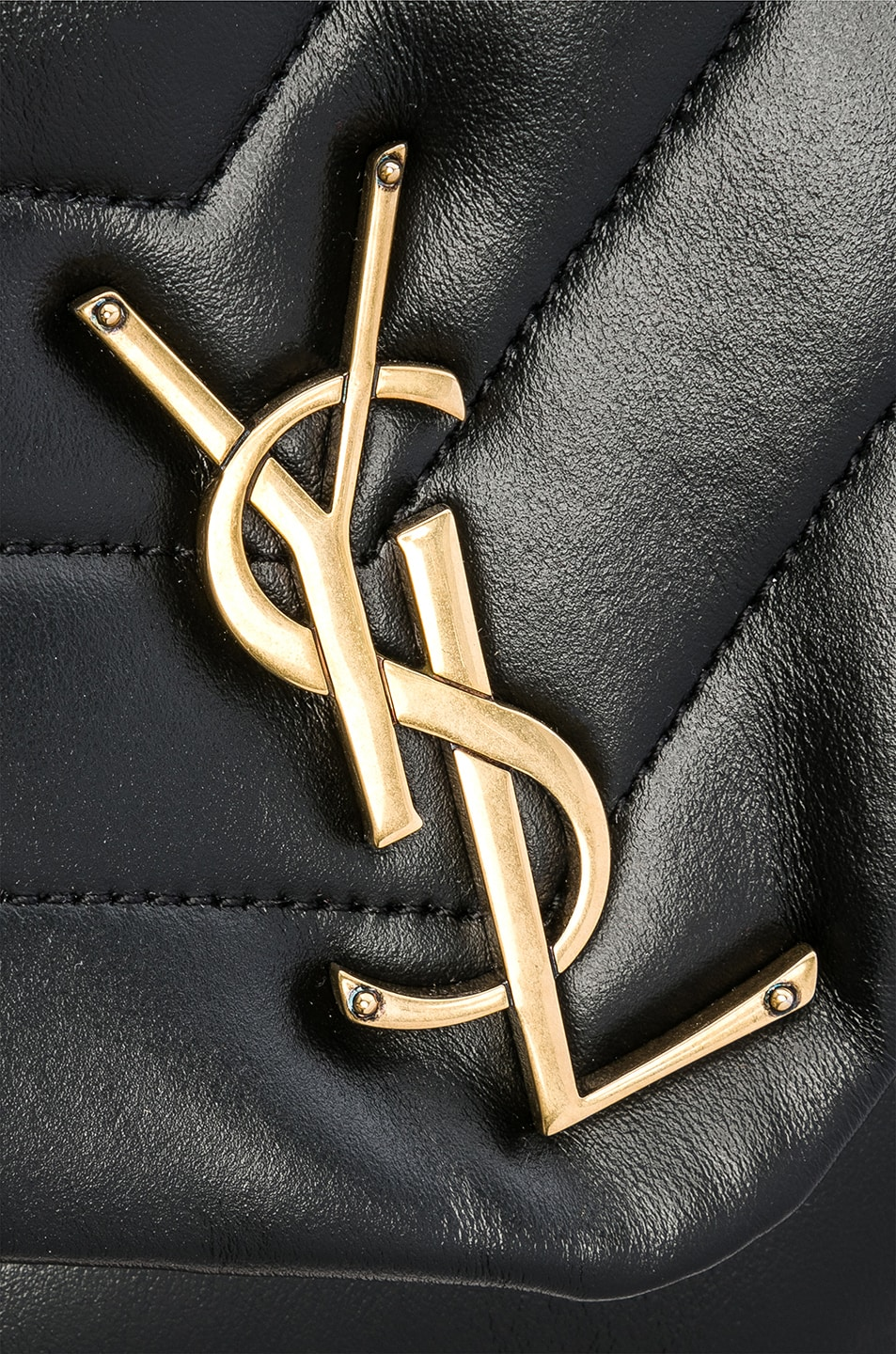 Image 7 of Saint Laurent Medium Supple Monogramme Loulou Chain Bag in Black & Gold