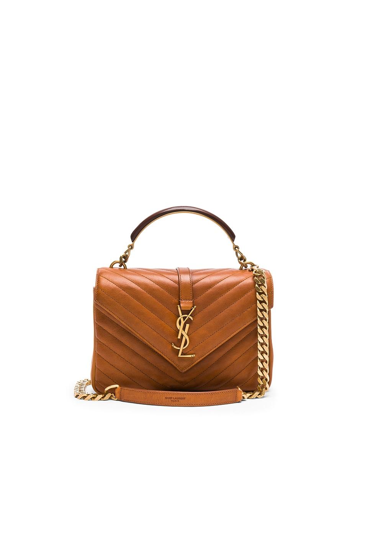 3c17c592ad945 Image 1 of Saint Laurent Medium Monogramme College Bag with Wooden Handle  in Vintage Cognac