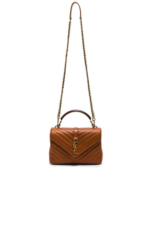 b612d979a92 Image 5 of Saint Laurent Medium Monogramme College Bag with Wooden Handle  in Vintage Cognac