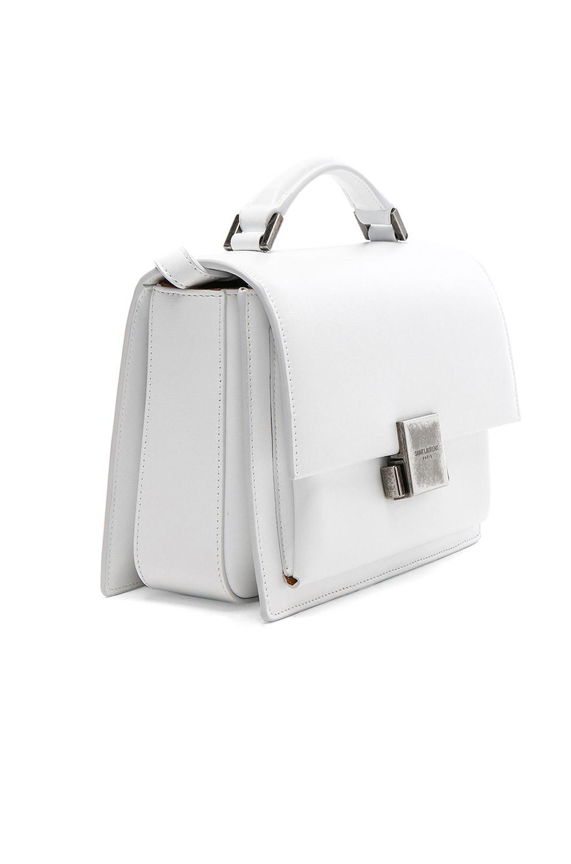 Image 4 of Saint Laurent Medium Bellechasse Schoolbag in Optic White