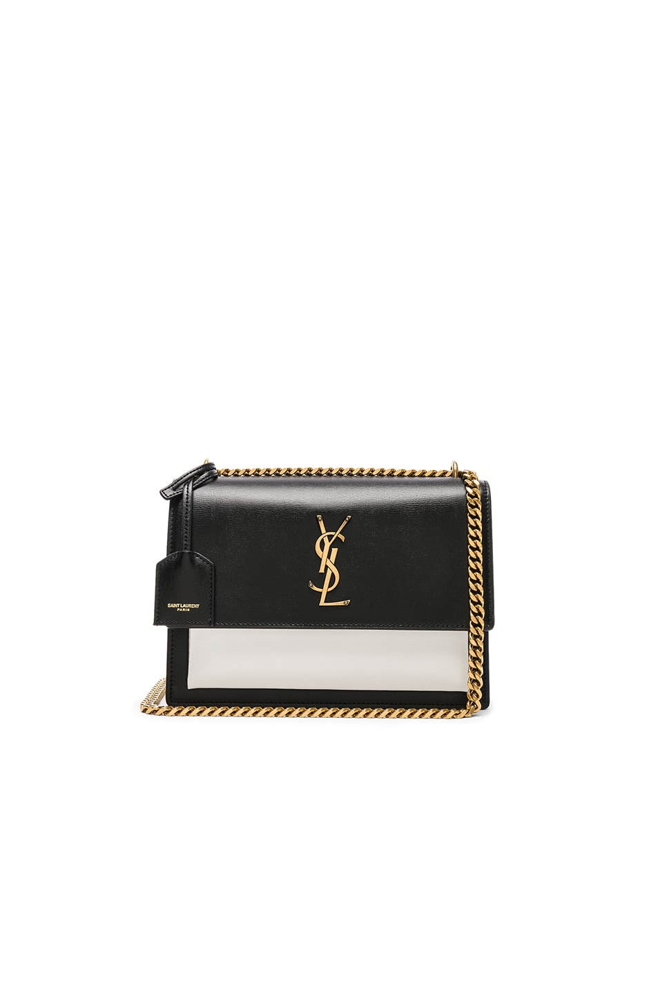 219dec77b0f Image 1 of Saint Laurent Medium Colorblock Leather Sunset Chain Bag in Black  & Pearl White
