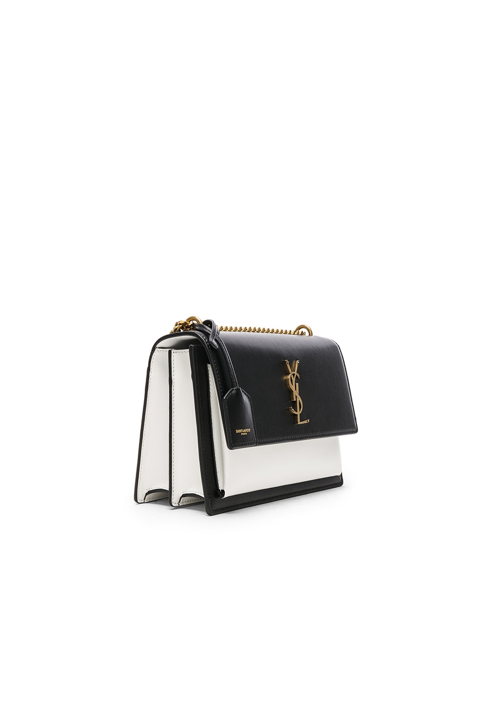 ffc9be34930 Image 3 of Saint Laurent Medium Colorblock Leather Sunset Chain Bag in Black  & Pearl White