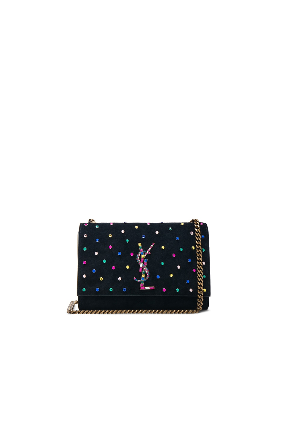 23ad2da8fcad Image 1 of Saint Laurent Small Crystal Embellished Suede Monogramme Kate  Chain Bag in Black