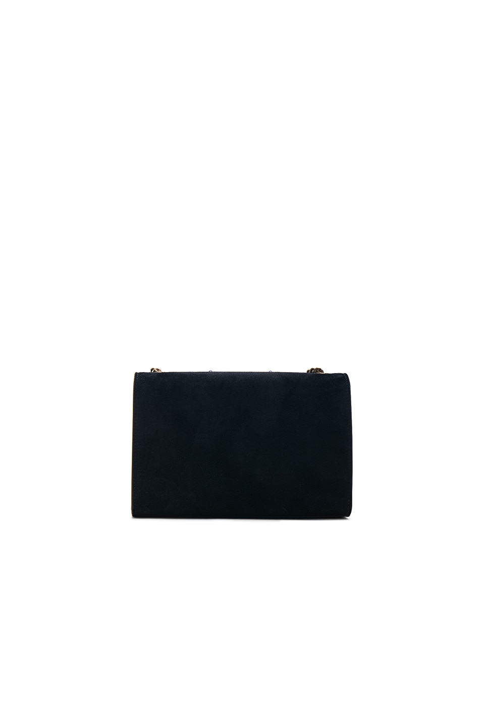 Image 2 of Saint Laurent Small Crystal Embellished Suede Monogramme Kate Chain Bag in Black & Multicolor