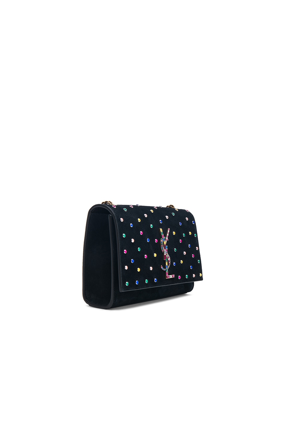 Image 3 of Saint Laurent Small Crystal Embellished Suede Monogramme Kate Chain Bag in Black & Multicolor