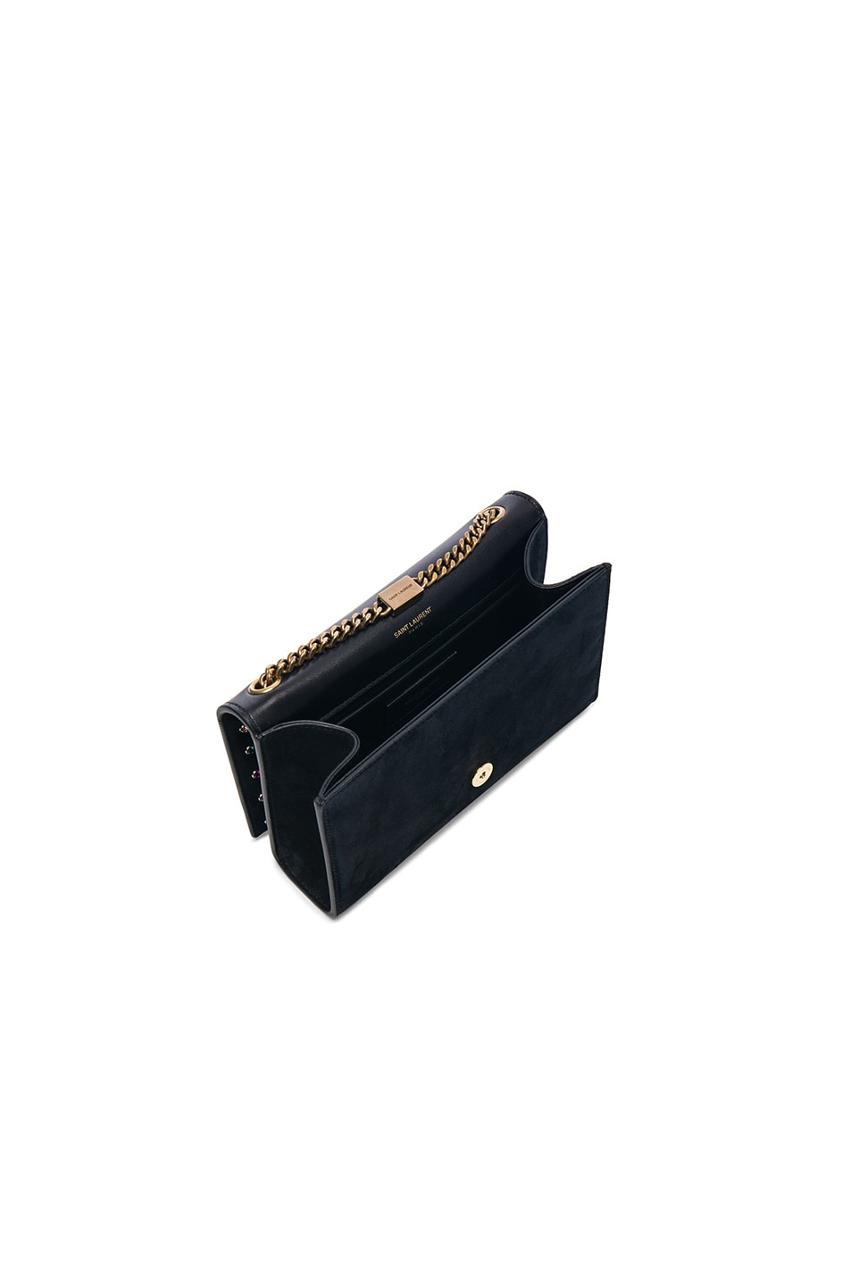 Image 4 of Saint Laurent Small Crystal Embellished Suede Monogramme Kate Chain Bag in Black & Multicolor