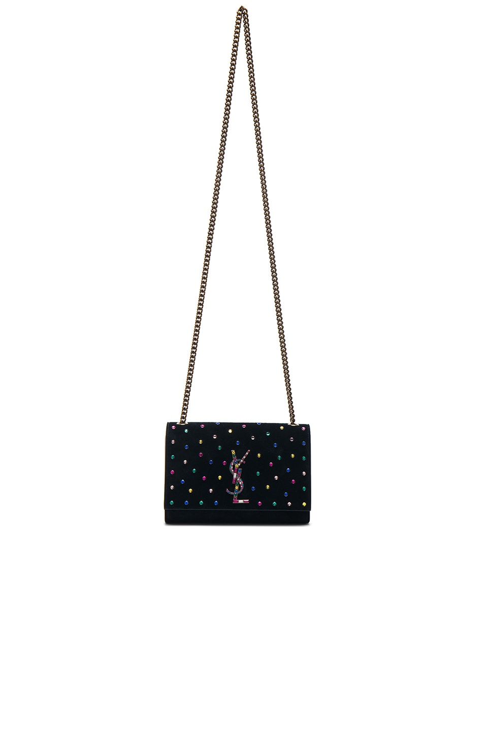 Image 5 of Saint Laurent Small Crystal Embellished Suede Monogramme Kate Chain Bag in Black & Multicolor