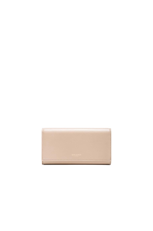 Image 1 of Saint Laurent Large Flap Wallet in Dark Beige
