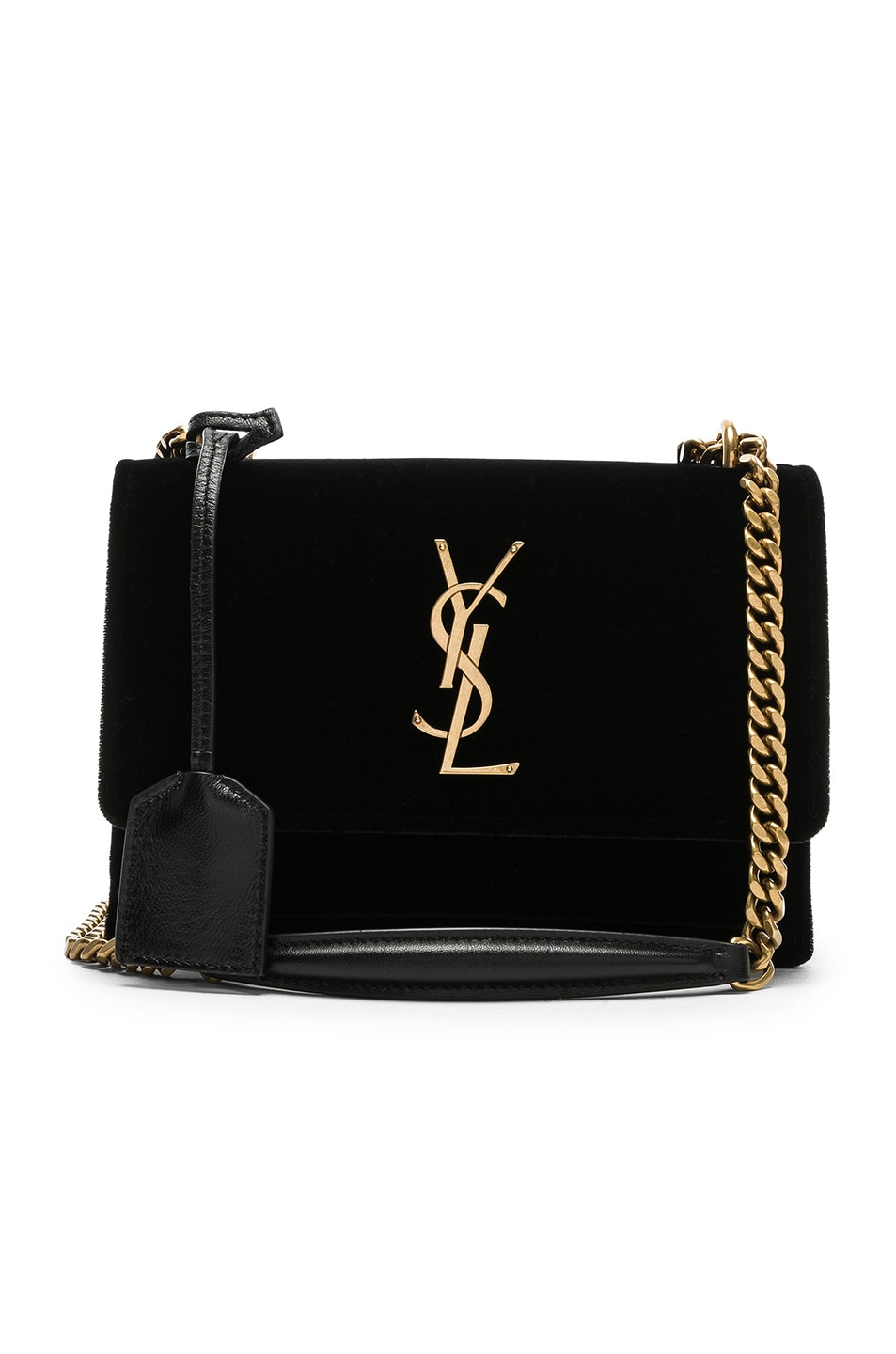 c21db7c36 Image 1 of Saint Laurent Small Velvet & Leather Sunset Chain Bag in Black