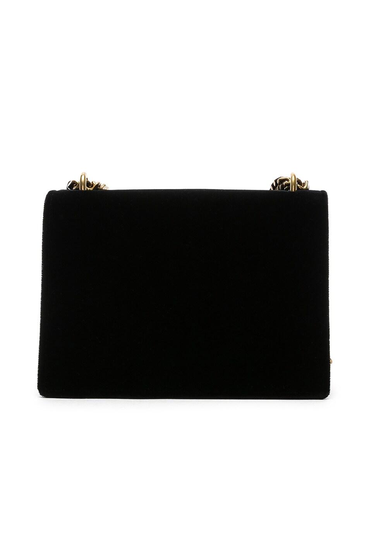 Image 3 of Saint Laurent Small Velvet & Leather Sunset Chain Bag in Black