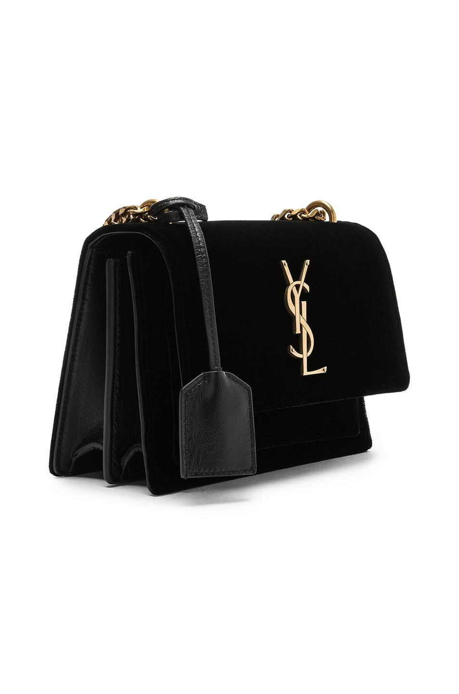 Image 4 of Saint Laurent Small Velvet & Leather Sunset Chain Bag in Black