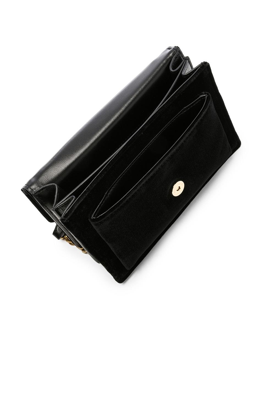 Image 5 of Saint Laurent Small Velvet & Leather Sunset Chain Bag in Black