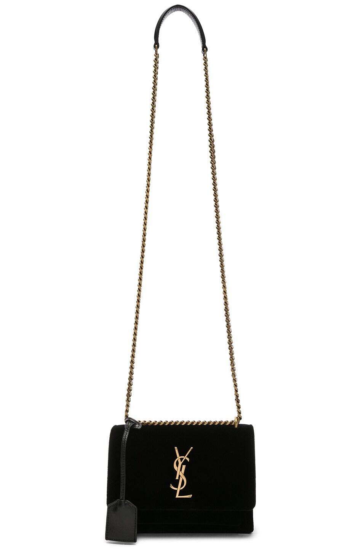 Image 6 of Saint Laurent Small Velvet & Leather Sunset Chain Bag in Black
