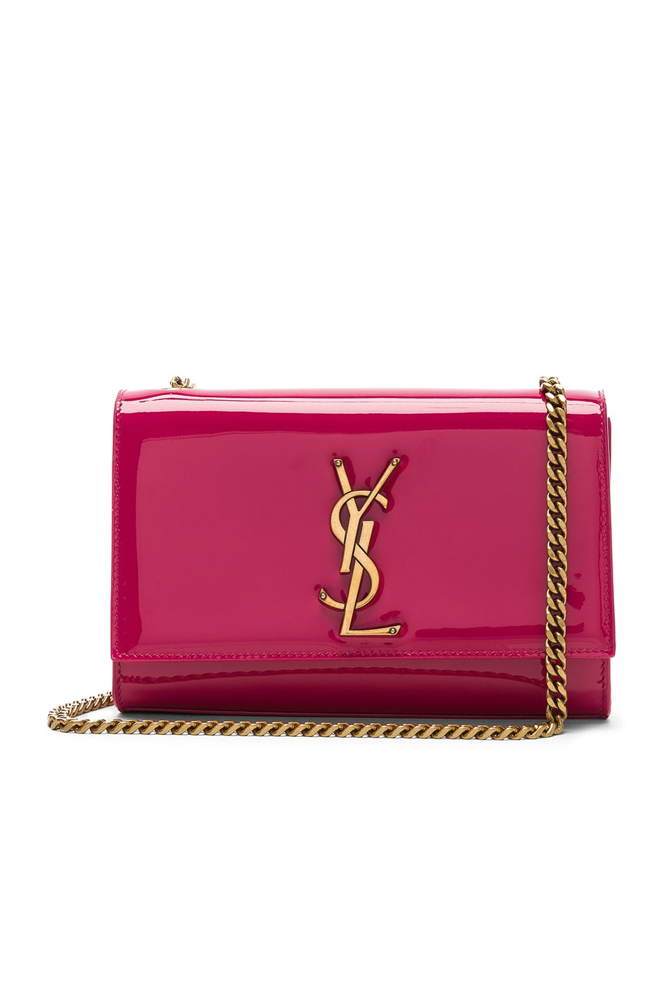 Image 1 of Saint Laurent Small Kate Monogramme Chain Bag in Shocking Pink