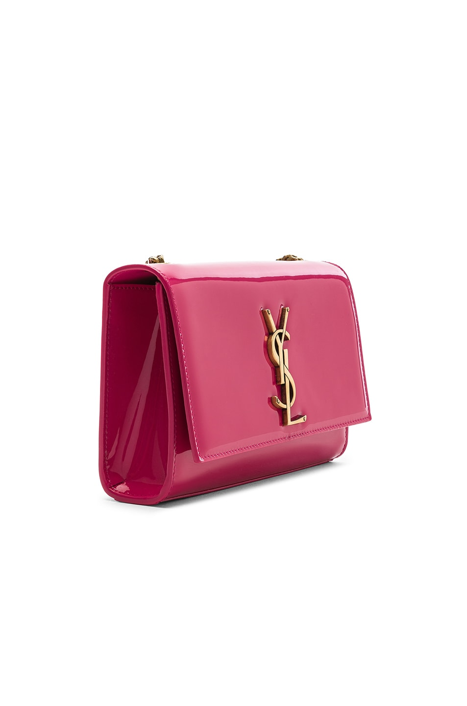 Image 4 of Saint Laurent Small Kate Monogramme Chain Bag in Shocking Pink
