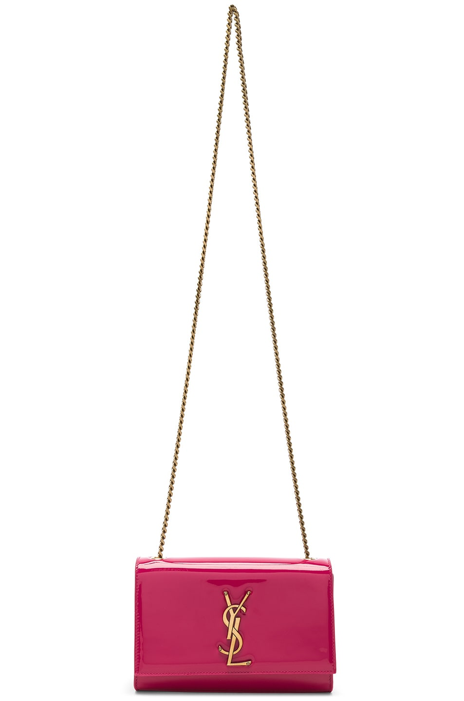 Image 6 of Saint Laurent Small Kate Monogramme Chain Bag in Shocking Pink
