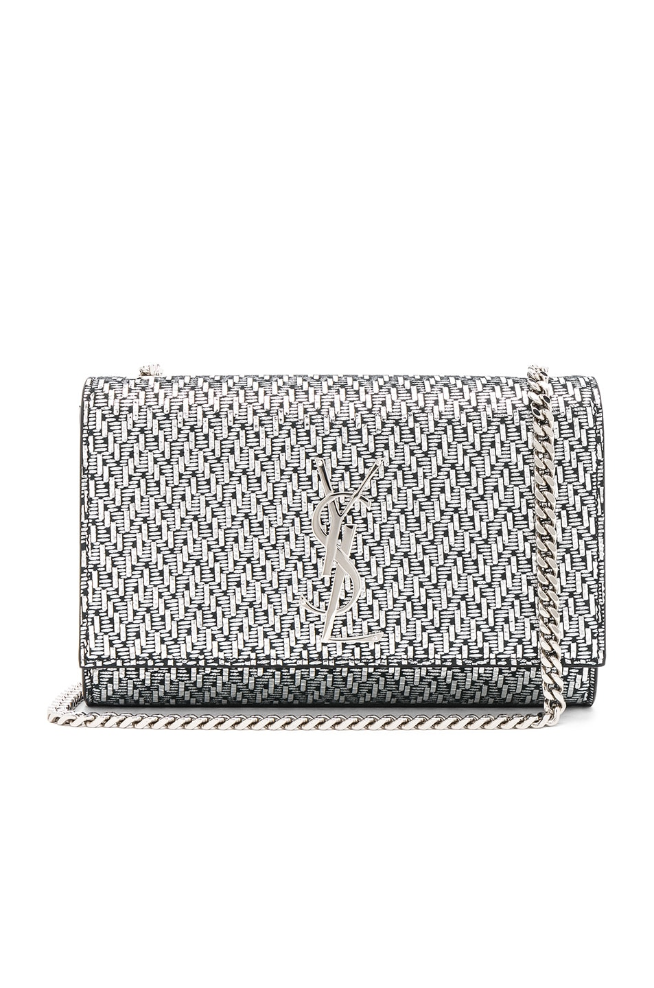 Image 1 of Saint Laurent Small Chevron Monogramme Kate Chain Bag in Black & Platinum