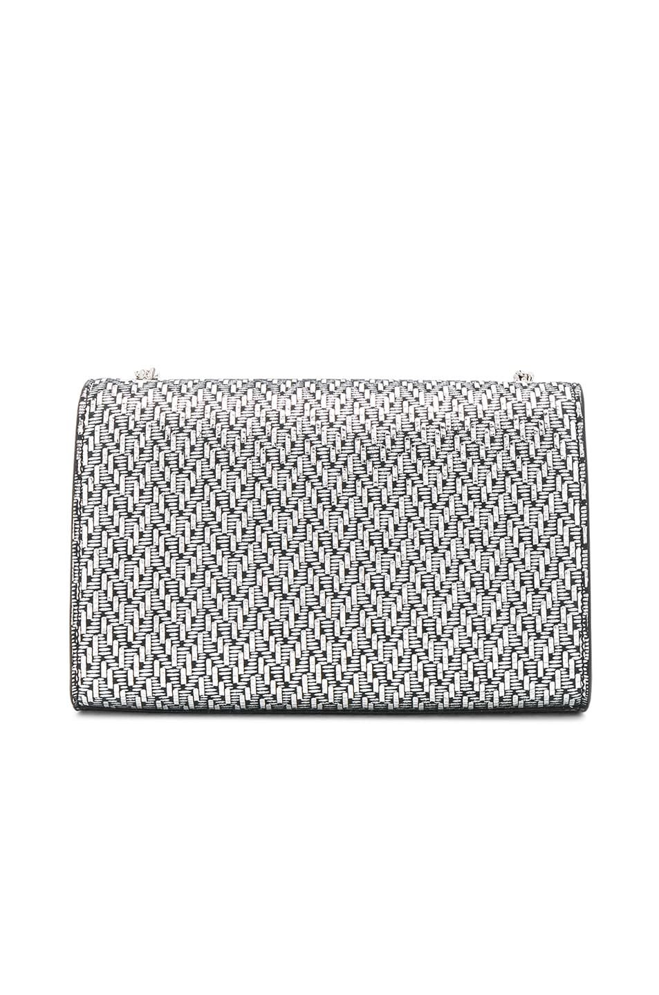 Image 3 of Saint Laurent Small Chevron Monogramme Kate Chain Bag in Black & Platinum