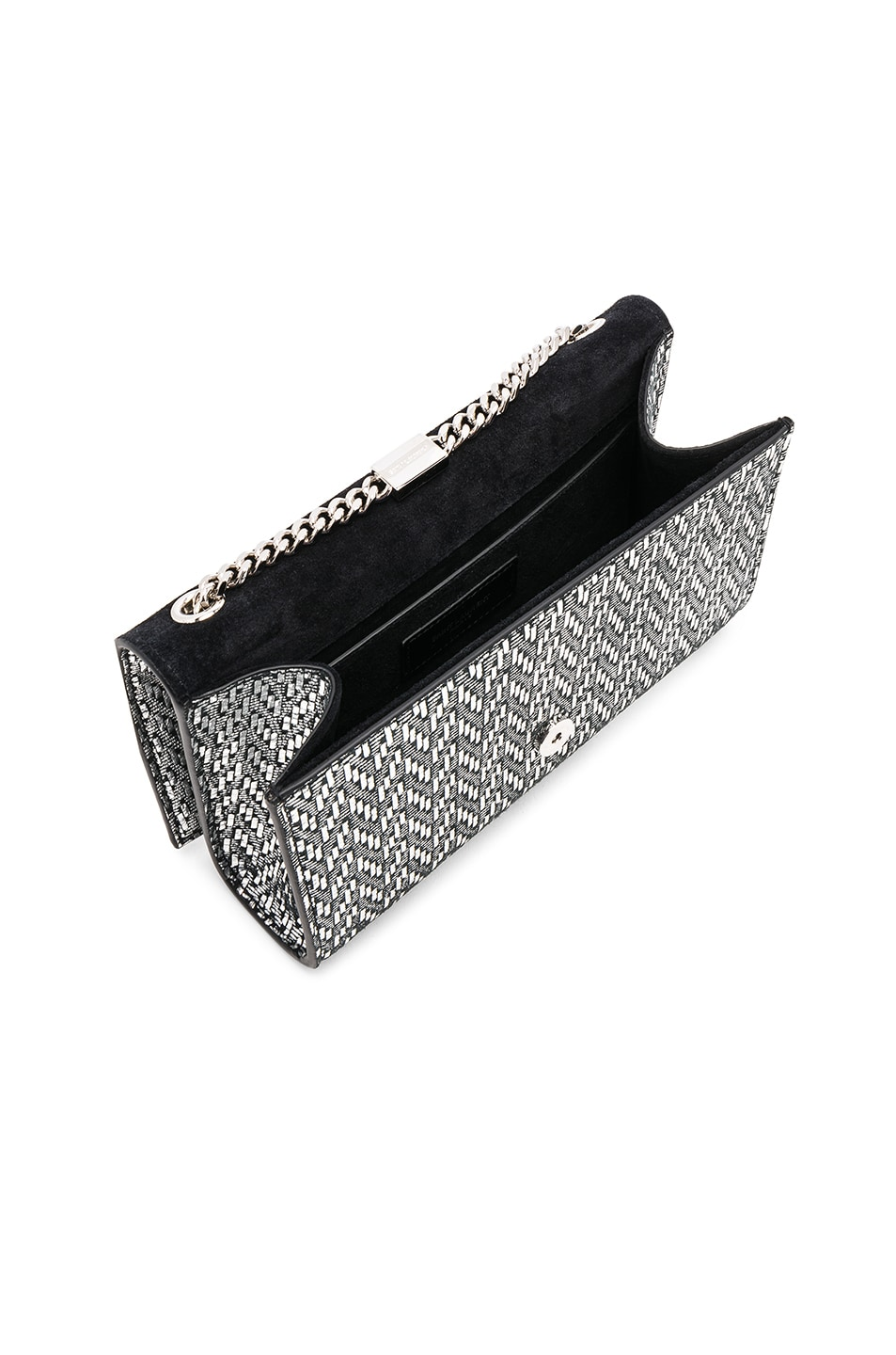 Image 5 of Saint Laurent Small Chevron Monogramme Kate Chain Bag in Black & Platinum