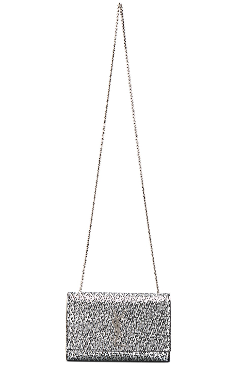 Image 6 of Saint Laurent Small Chevron Monogramme Kate Chain Bag in Black & Platinum