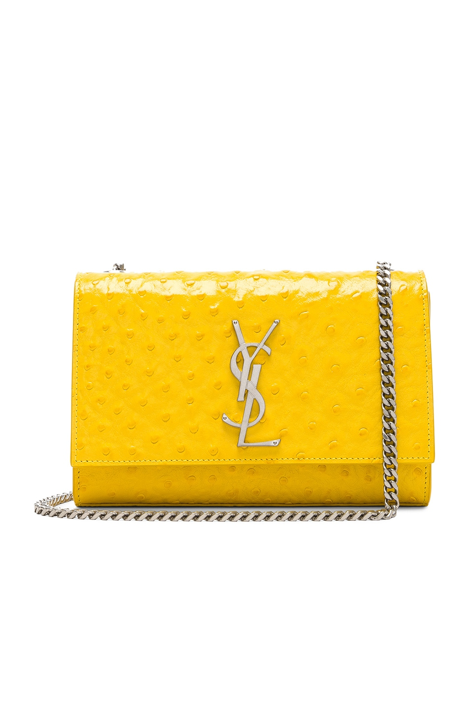 9a9a100501 Image 1 of Saint Laurent Small Ostrich Embossed Monogramme Kate Chain Bag  in Mimosa