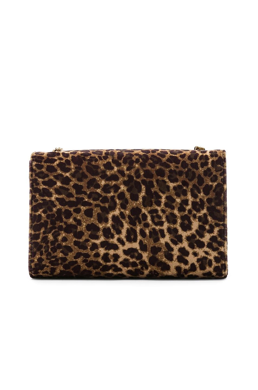 Image 3 of Saint Laurent Small Leopard Print Velvet Monogramme Kate Chain Bag in Natural