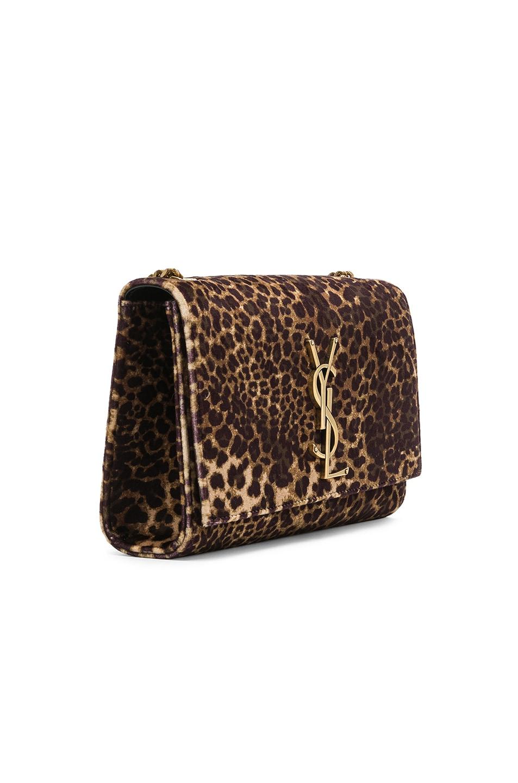 Image 4 of Saint Laurent Small Leopard Print Velvet Monogramme Kate Chain Bag in Natural